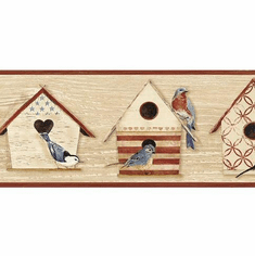 879767 Cottage Chic Birdhouses Dark Red Wallpaper Border CCB2242