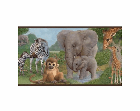 879770 Jungle Animal Babies Wallpaper Border BBC46371b