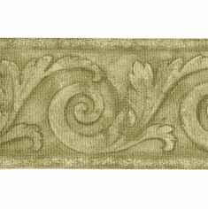 879778 Vintage Scroll Green Architectural Wallpaper Border FDB05762