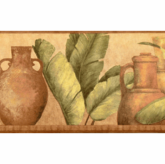 879779 Clay Pots and Palm Leaves Wallpaper Border FDB07142