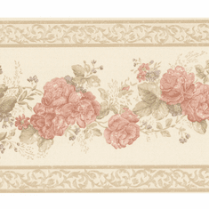 879780 Vintage Rose Tiff Peach Satin Floral Border Wallpaper 992B07566