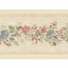 879781 Vintage Rose Satin Beige Floral Meadow Border Wallpaper 992b07573