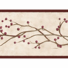 879783 Burgundy Winterberry Vine Wallpaper Border SB10258b