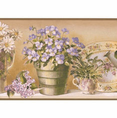 879796 Tea Set Watering Can Wallpaper Border SM05102b