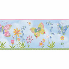879800 Kids Butterfly Dragonfly Flowers Wallpaper Border CK83301b