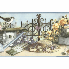 879801 Garden Gate Birdhouses Wallpaper Border SM05112b