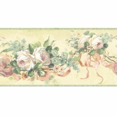 879806 Vintage Rose Ribbon Wallpaper Border SM20033b