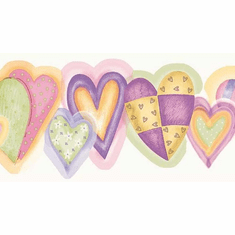 879811 Pastel Scalloped Hearts Wallpaper Border CK83192b