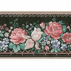 879818 Narrow Mini-Floral Wallpaper Border Black 40-02950