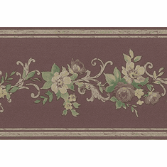 879829 Satin Burgundy Gold Floral Trail Wallpaper Border b60961