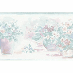 879835 Potted Pastel Picked Flowers Wallpaper Border 330b14922