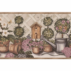 879844 Birdhouse Watering Can Flower Pots Wallpaper Border 238b53232
