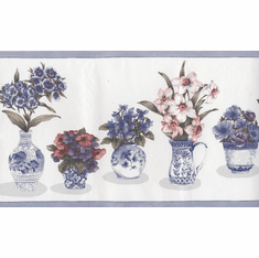 879845 Flowers in Blue Vases Wallpaper Border 60460FP