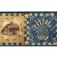 879857 Folkart Pineapple House Stencil Wallpaper Border HA51051b