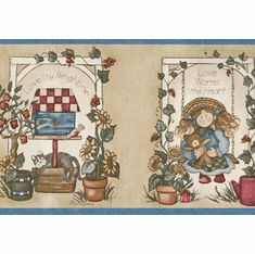 879858 Country Folk Art Dolls Wallpaper Border 53201FP