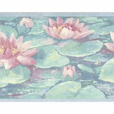 879861 Lily Pad Donna Dewberry Aqua Blue Wallpaper Border 75705FP  718b295