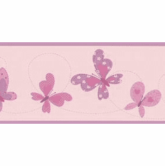 879864 Butterfly Flutter Pink Purple Wallpaper Border BVB90533