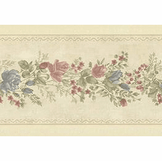 879868 Satin Country Rose Wallpaper Border BVB03447