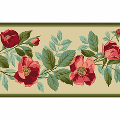 879872 Red Poppy Trail Wallpaper Border VT743302b