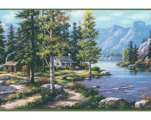 879882 Northwoods Lodge Scenic Mountain Wallpaper Border DP87725