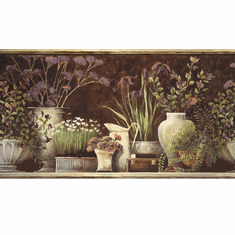 879889 Floral Still Life Wallpaper Border Brown Pur44642b