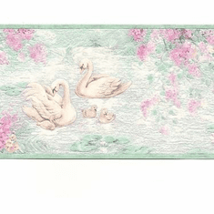 879899 Bright Swans on Pond Wallpaper Border 255b03287