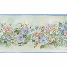879900 Watercolor Brushstroke Floral Wallpaper Border 260b03566