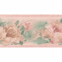 879901 Peach Pink Pastel Brushstroke Floral Wallpaper Border 261b02486