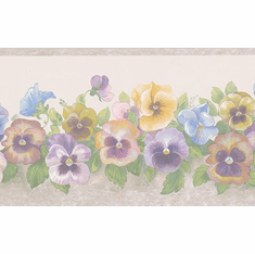 879903 Pastel Pansy Trail Wallpaper Border 86286FP