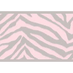 879917 Mia Faux Zebra Striped Pink and Silver Wallpaper Border TOT46422b