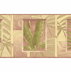 879918 Pastel Tropical Palm Leaves and Bamboo Green Mauve Beige By Kathy Ireland Wallpaper Border NL57002b