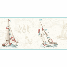 879927 Baby Blue Water's Edge Sailboat Wallpaper Border DLR53592b