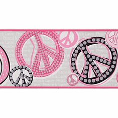 Peace & Love Sign Wallpaper Border JE3511b