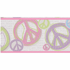 Peace & Love Sign Wallpaper Border JE3512b