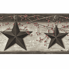 Rustic Barn Star Ennis Grey Wallpaper Border