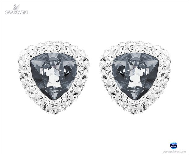(SOLD OUT) Swarovski  Begin Stud Pierced Earrings dark crystal