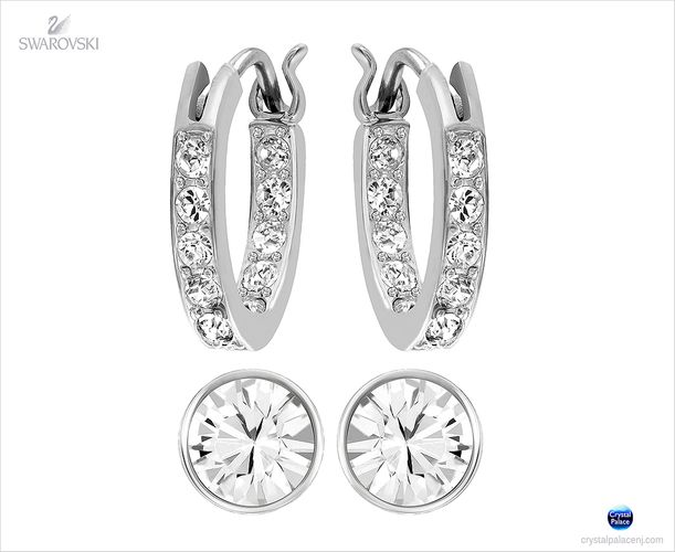 (SOLD OUT) Swarovski Canvas Pierced Earrings Set rhodium