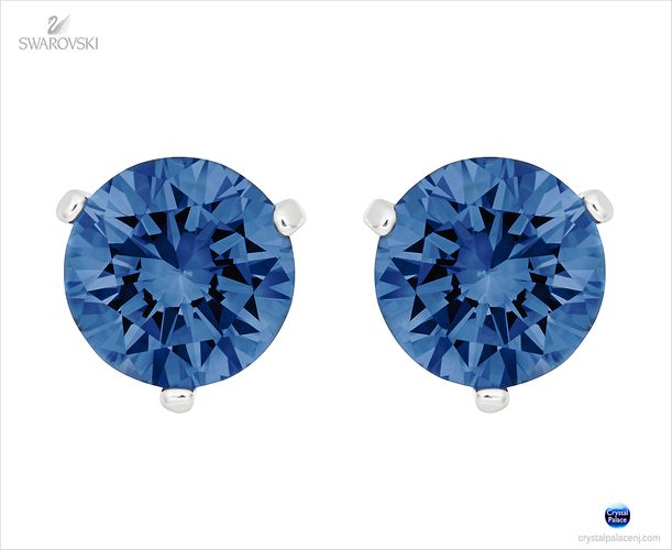(SOLD OUT) Swarovski Solitaire Pierced Earrings  bright blue