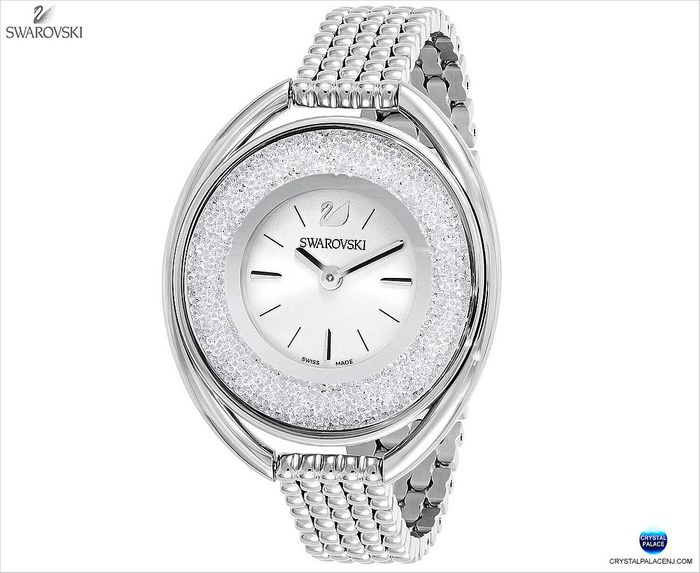 Crystalline Oval Watch, Silver