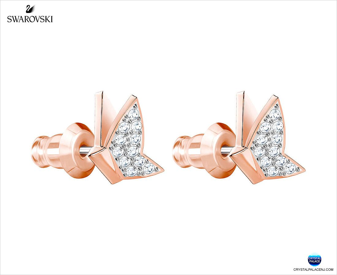 454c363ff 5382367 Swarovski Lilia Fig Pierced Earrings, White, Rose gold plating