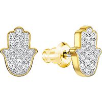 Hamsa Hand Pierced Earrings, Gold