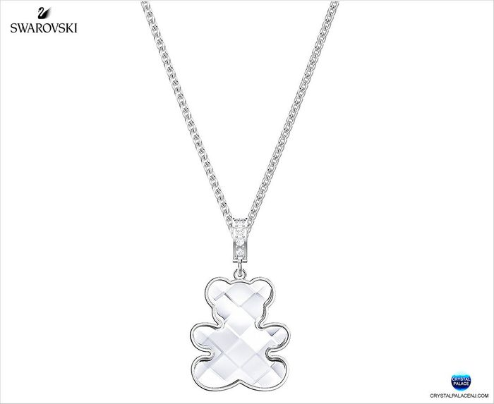 Teddy Pendant, White, Rhodium