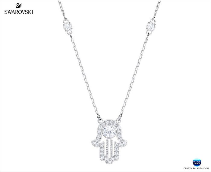 Luckily Hamsa Hand Necklace,, Rhodium