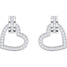 Lovely Pierced Earrings, White, Rhodium