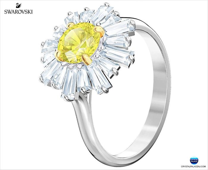 Sunshine Ring, Yellow, Rhodium