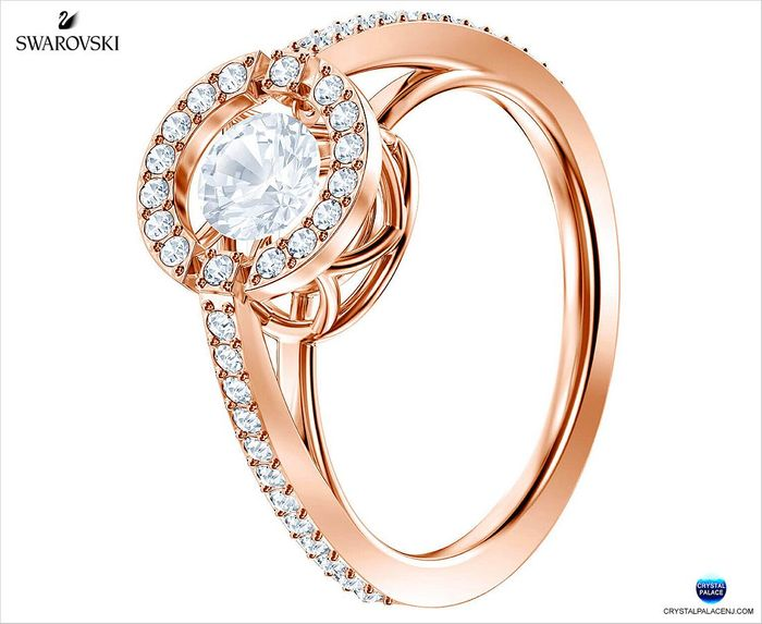 Sparkling Dance Round Ring, Rose gold