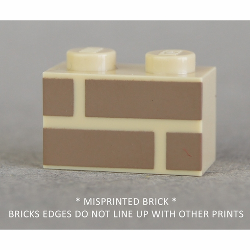1x2 Tan with Dark Tan brick print (MISPRINTED)