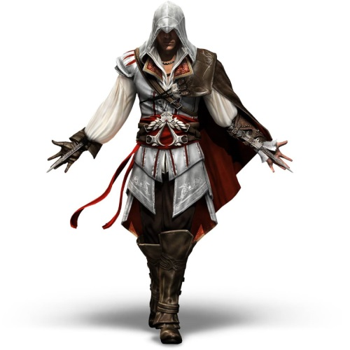 Backlit Assassins Creed Mega Bloks Figure emerging from shadows with Mega Bloks Logo behind shoulder stating Coming Soon to B.A. Toys