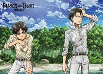 Attack On Titan - Eren And Levi On The Shore Special Edition Wallscroll Pre-Order