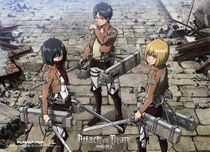 Attack On Titan - Eren, Mikasa And Armin Group Wallscroll Pre-Order